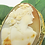 Thumbnail: Antique Carved Conch Shell Cameo & Pearl Pendant Brooch