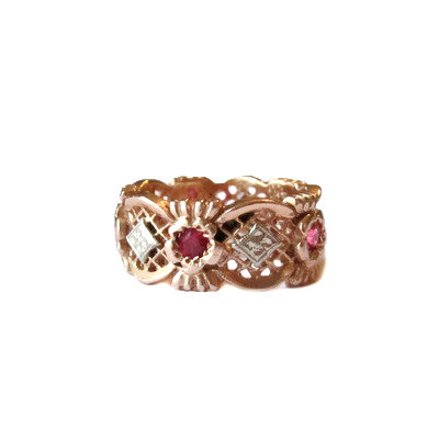Retro Ruby & Rose Gold Cigar Band Ring