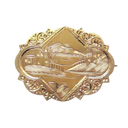 Victorian Engraved 14K Gold Antique Landscape Pin