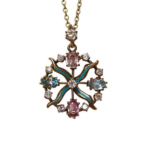 Antique Pink Sapphire, Aqua & Diamond Pendant