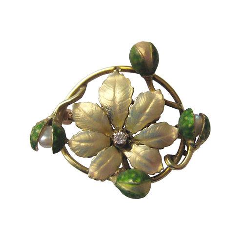 Iridescent Enamel Art Nouveau Brooch/Watch Pin