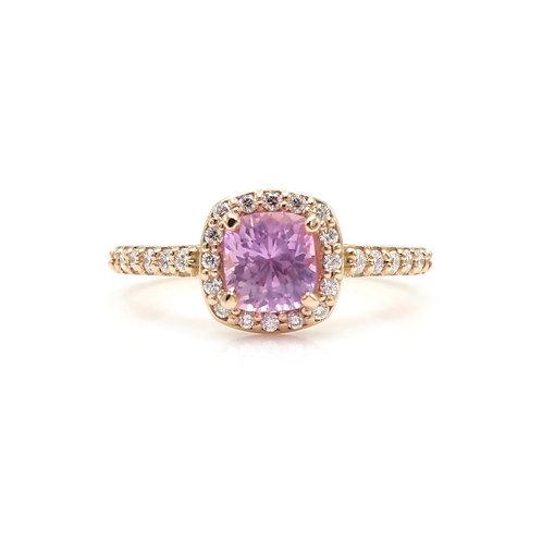 Pink Sapphire & Diamond Halo 14K Rose Gold Engagement Ring