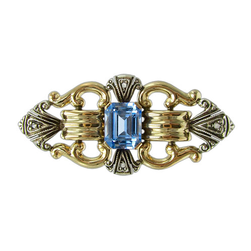 Retro Blue Stone, Diamond, Gold, & Sterling Brooch