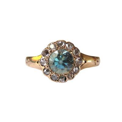Blue Zircon & Rose Cut Diamond Cluster Ring