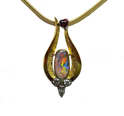 Black Opal and Diamond Pendant