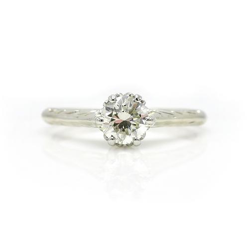 Vintage .45 Carat Solitaire Diamond & Engraved 14 K White Gold Engagement Ring