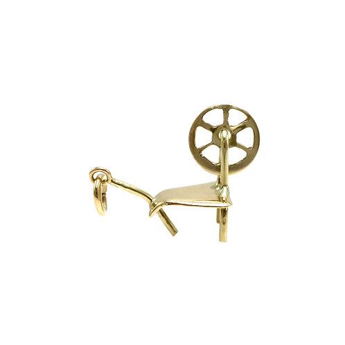 Vintage 10K Gold Spinning Wheel Charm