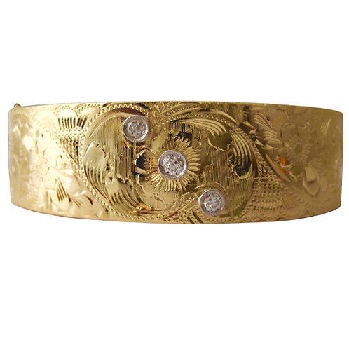 Hand Engraved Diamond Bangle Bracelet