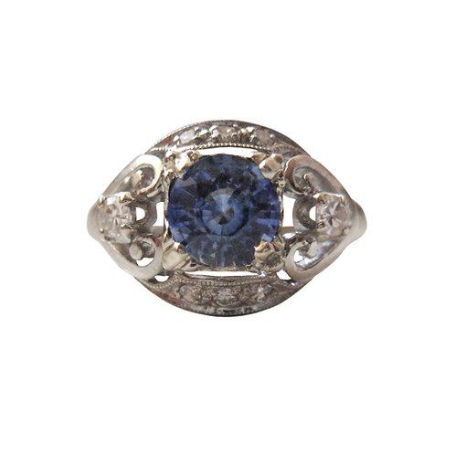 Vintage Ceylon Sapphire & Diamond Engagement Ring