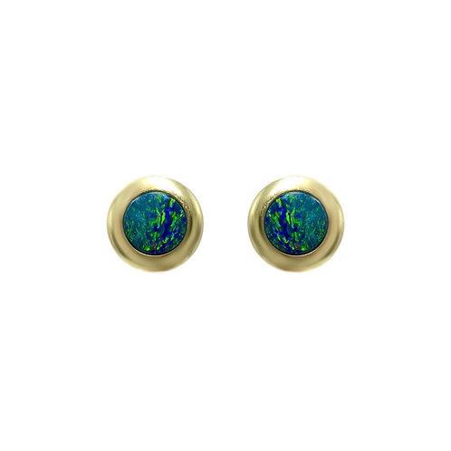 Opals Australia 14K Gold Round Opal Stud Earrings