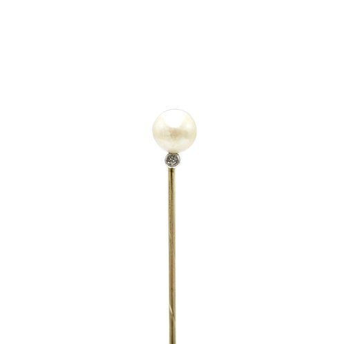 Edwardian Natural Pearl & Diamond Antique Stick Pin | Lapel Pin | Tie Pin