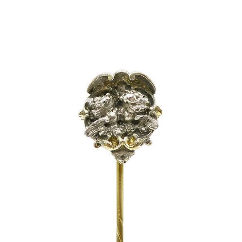 Karl Rothmuller Kissing Cherubs Sterling Silver & Gold Antique Stick Pin