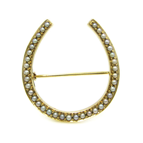 Antique Seed Pearl 14 Karat Gold Horseshoe Brooch