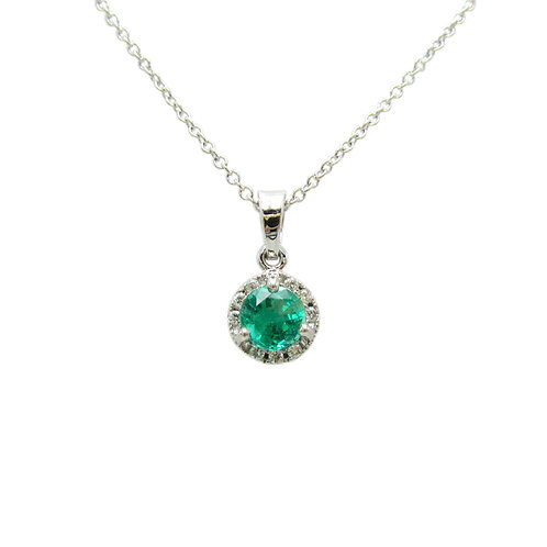 Emerald & Diamond Halo 14K Gold Pendant Necklace
