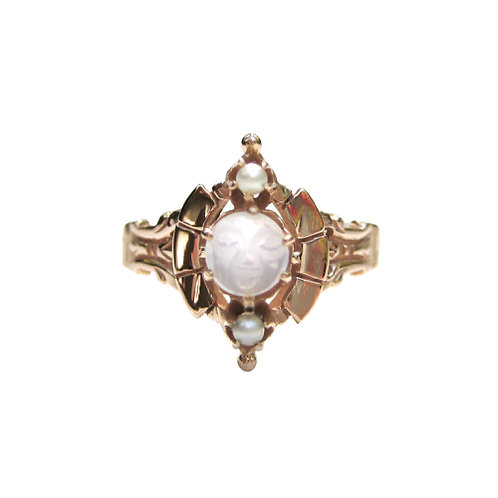 Man in the Moon Antique Moonstone & Pearl Ring