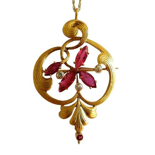Art Nouveau Ruby Pendant / Brooch