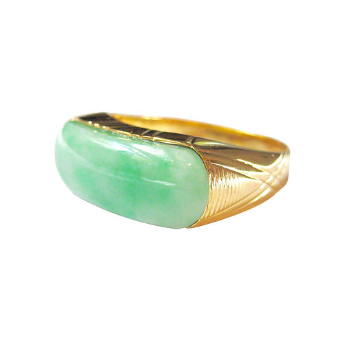 Vintage Moss In Snow Jadeite Saddle Ring 14K Gold