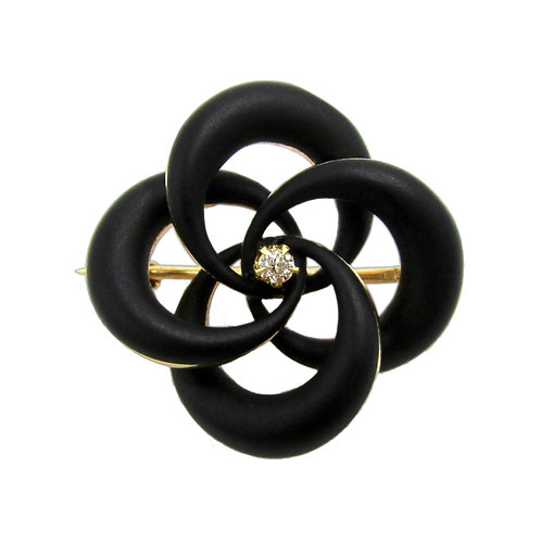 Black Enamel, Diamond, & 14K Lover's Knot Brooch
