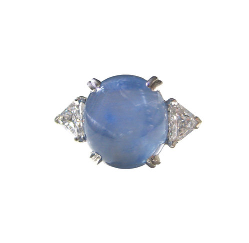 Estate Star Sapphire and Trilliant Diamond Ring