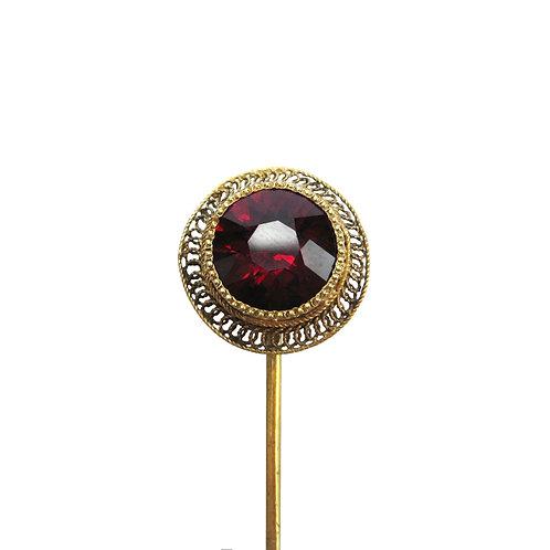 Antique Taupert Garnet 14K Gold Filigree Stick Pin