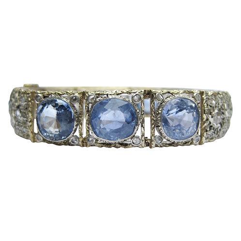 Antique 20CT Ceylon Sapphire & Diamond Bracelet