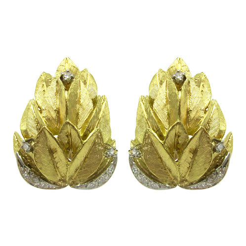 Vintage Diamond Feather 14K Statement Earrings