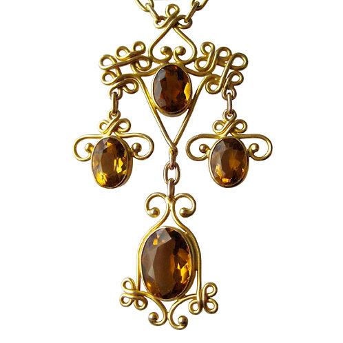 Regal Antique Citrine Arts & Crafts 14K Necklace