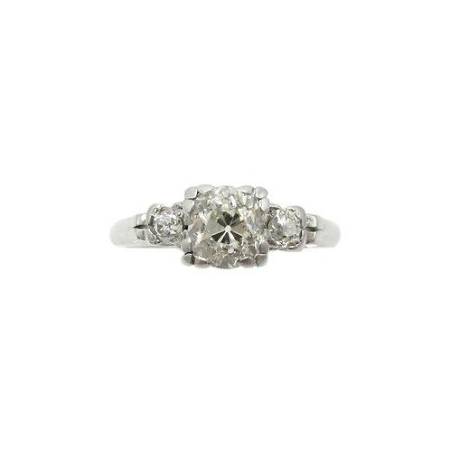 Vintage Old Mine Cut Diamond 3 Stone Plat Ring