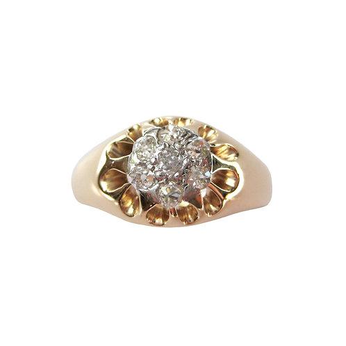 Antique Diamond Men's Cluster Ring Belcher Setting