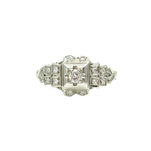 Art Deco Diamond & 18K White Gold Engagement Ring