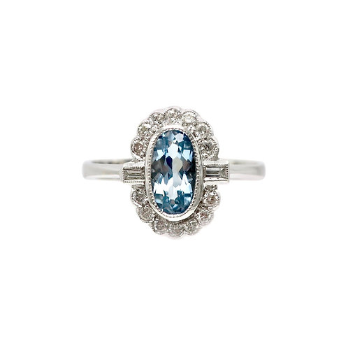 Jonathan Lynne Aquamarine & Diamond 18 Karat White Gold Cluster Ring
