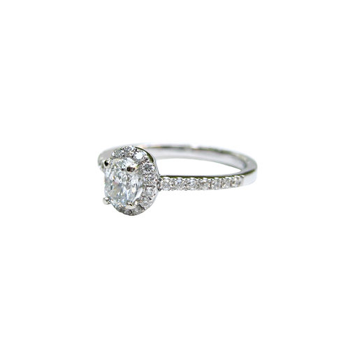 Oval Diamond Halo Ring With Diamond Melee Band