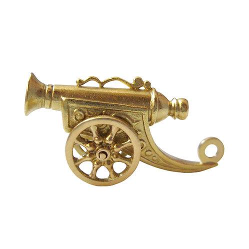 Vintage 18K Cannon Charm