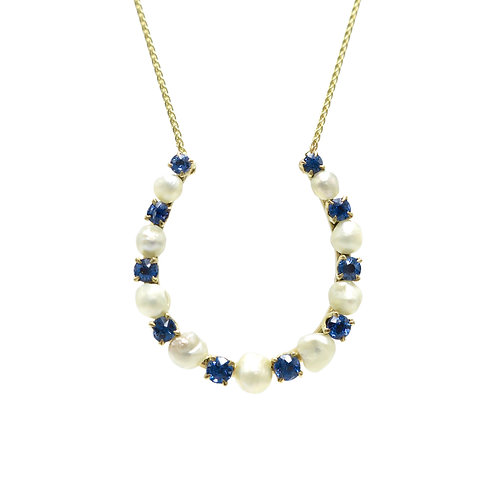 Sapphire & River Pearl Lucky Horseshoe Necklace