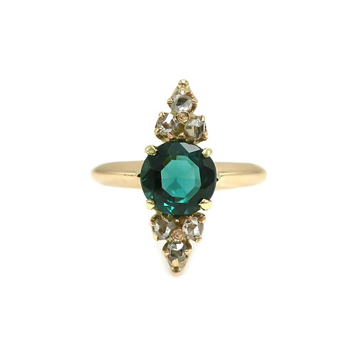 Antique Teal Green Tourmaline & Rose Cut Diamond 14K Rose Gold Navette Ring