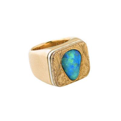 Hand-Engraved Black Opal Mens Ring