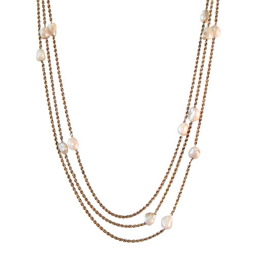 Victorian Triple Strand 14K Baroque Pearl Necklace