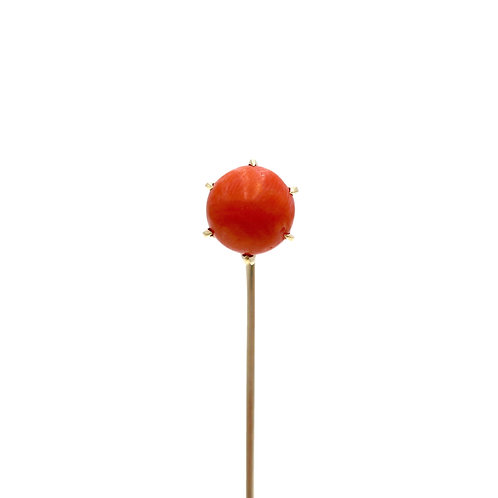 Antique Coral 15K Gold Victorian Stick Pin