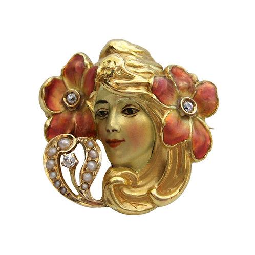 Art Nouveau Enamel & Diamond Beauty