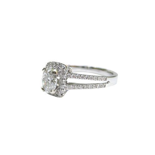 Oval Diamond Halo Ring With Split Shank Band
