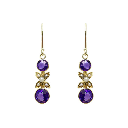 Amethyst & Seed Pearl 14K Gold Earrings