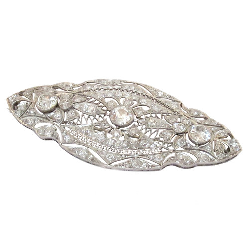 4ctw Edwardian Diamond & Platinum Brooch