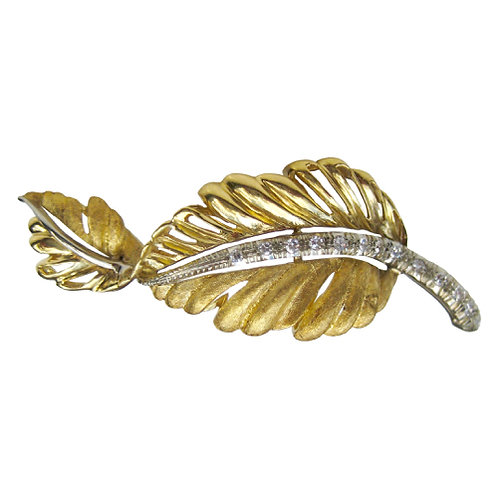 Two-Tone 18K Diamond Feather Brooch
