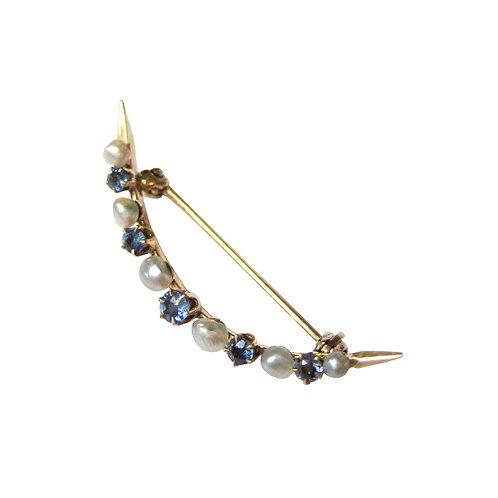 Edwardian Sapphire & Pearl Crescent Brooch Pin 14K