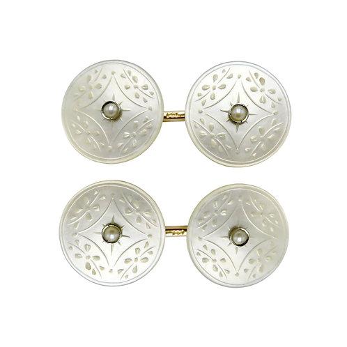 Krementz & Co. Vintage Mother of Pearl, Seed Pearl, 14K Gold Cufflinks