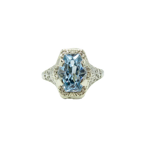 Art Deco Blue Stone 14K White Gold Filigree Ring