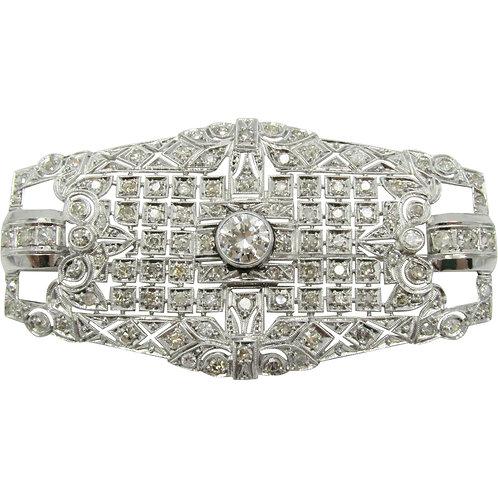 Art Deco 2.93ctw Diamond & Platinum Vintage Brooch