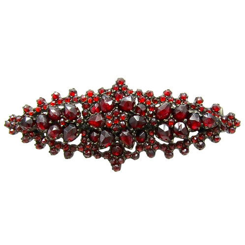 Bohemian Garnet Antique Silver Brooch