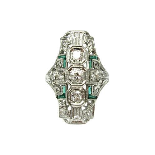 Vintage Art Deco Diamond, Emerald, & 18K Ring