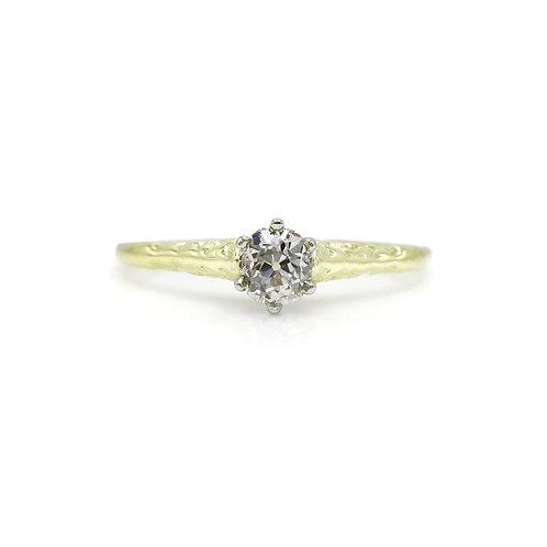 Vintage .30 Carat Old Mine Cut Solitaire Diamond & 14 Karat Gold Engagement Ring